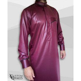 Qamis Bahreini Trim Bordeau et Noir -  Manches Boutonnées - custom qamis