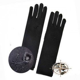 Black glove (with embroidered flower)