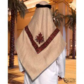 Shemagh Yemenite brodée marron clair