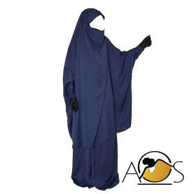 jilbab 2pcs intense dark blue - cust'oum