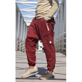 Trousers Harem pants cotton burgundy - Nai3m collection