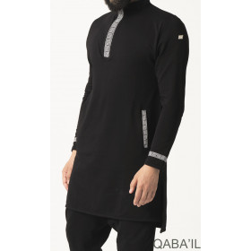 Short Kameez Eminence - black and silver - Qaba'il