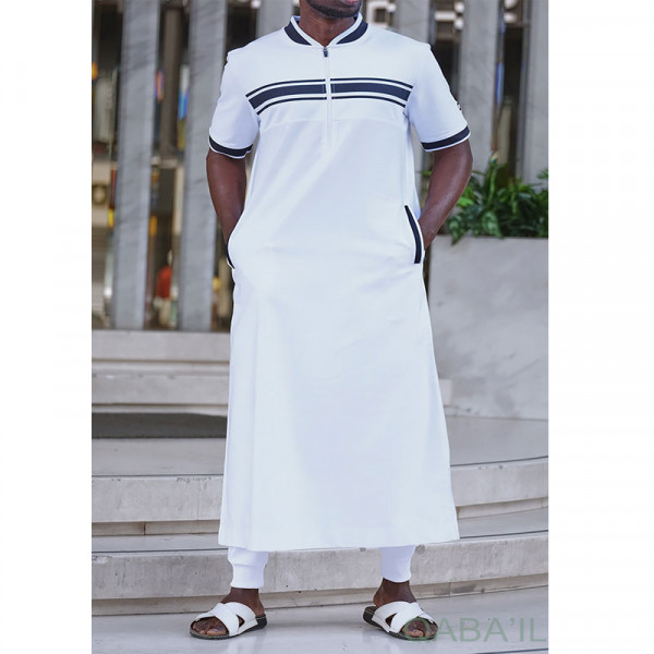 Navy 3 kameez white and blue - Qaba'il