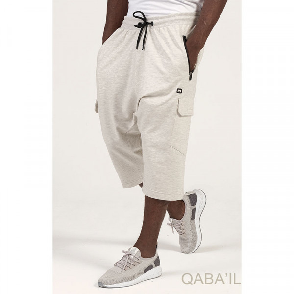 Short jogging cargo harem pants - white